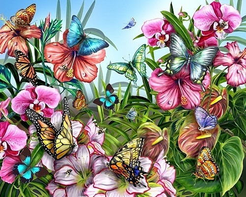 Buterfly garden for Butterfly garden mural